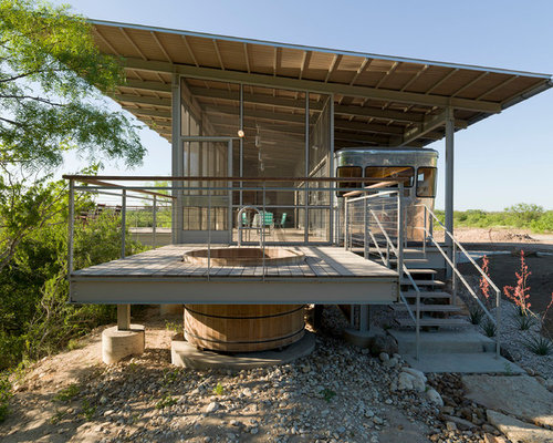 Example Of A Small Minimalist Gray Two Story Metal Exterior Home Design In  Austin