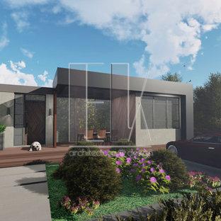 他の地域のモダンスタイルのおしゃれな家の外観 (陸屋根、アパート・マンション) の写真