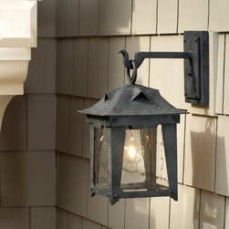 Loma Lantern - Wrought Iron Exterior Arm Mount Fixture.  Please email info@dlglighting.com to purchase.  Ships Nationwide.