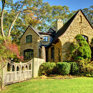 Inspiration for a timeless stone exterior home remodel in Chicago