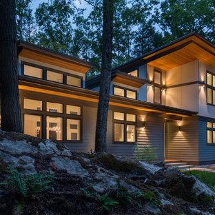 Foto della facciata di una casa piccola grigia contemporanea a due piani con rivestimento con lastre in cemento e tetto a una falda