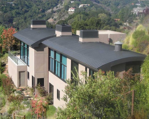 Example Of A Trendy Two Story Exterior Home Design In San Francisco With A  Metal