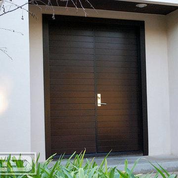 Los Angeles Custom Modern Garage Doors & Matching Entry Door System Project