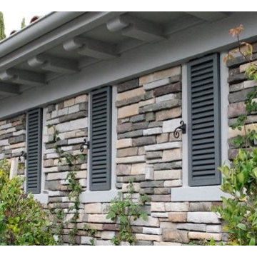 Louver Style Shutters for a French Chateau Style Home in Newport Beach, CA