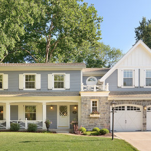 Traditional gray exterior home idea in Chicago
