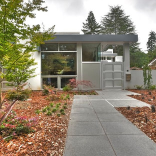 Design ideas for a gey modern one floor house exterior in San Francisco.