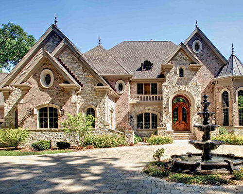 Houzz brick and stone exterior design ideas remodel for Brick stone combinations