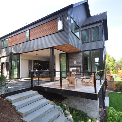 Inspiration for a contemporary two-story exterior home remodel in Seattle