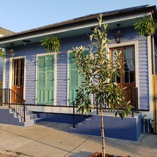 Cette photo montre une façade de maison éclectique.