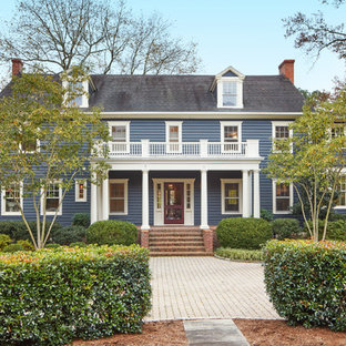 Inspiration for a timeless blue two-story gable roof remodel in DC Metro
