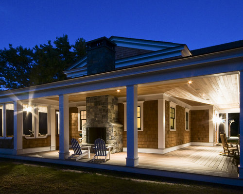 Covered Porch With Fireplace Home Design Ideas Pictures