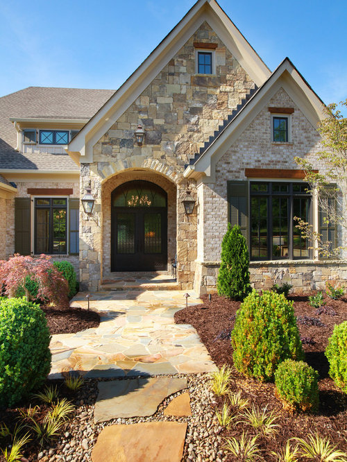 Brick and stone exterior houzz for Brick stone combinations