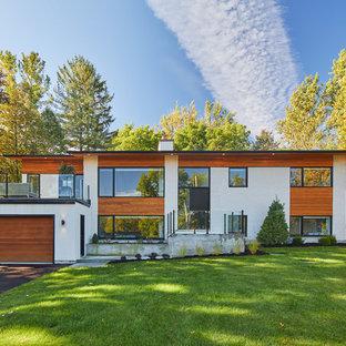 Modelo de fachada de casa blanca, retro, grande, de dos plantas, con tejado plano y revestimientos combinados