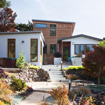 Inspiration for a contemporary white two-story wood exterior home remodel in San Francisco with a shed roof