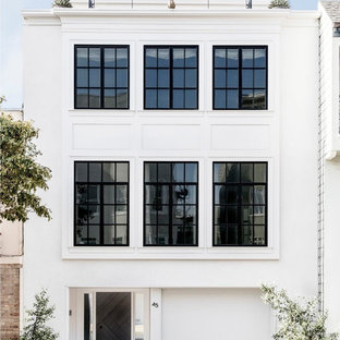 Transitional white three-story exterior home photo in San Francisco