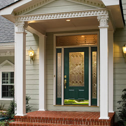 ProVia - Maximizing Curb Appeal w/ New Entry Doors - Legacy Smooth Steel 440CLA with 160CLA Sidelites and 612/613CLA Transom.  Shown in Forest Green.
