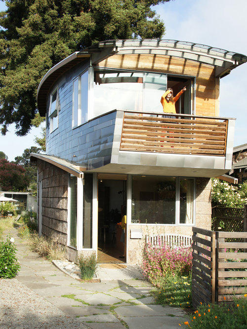 Inspiration for a small eclectic two-story mixed siding exterior home  remodel in San Francisco