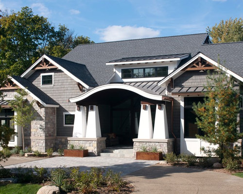 Gable trim houzz for Metal roof craftsman home