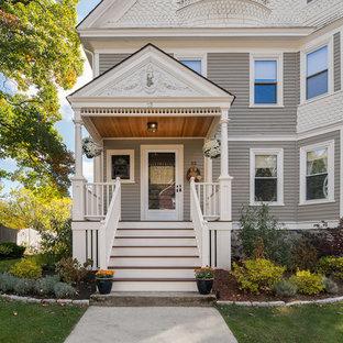 Mid-sized victorian gray three-story exterior home idea in Boston