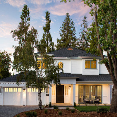Large transitional white two-story vinyl house exterior photo in San Francisco with a hip roof and a shingle roof