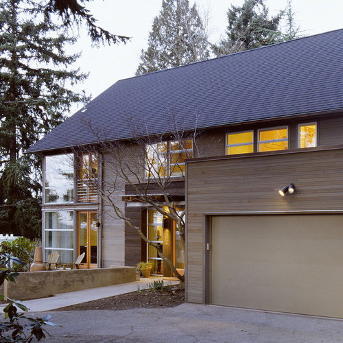 inspiration for a wood exterior home remodel in seattle
