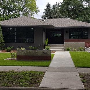 Свежая идея для дизайна: одноэтажный, серый частный загородный дом среднего размера в стиле ретро с облицовкой из бетона, вальмовой крышей и крышей из гибкой черепицы - отличное фото интерьера