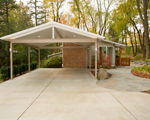 Contemporary carport houzz for Carport construction costs