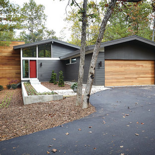 Midcentury exterior in Grand Rapids with wood cladding and a pitched roof.