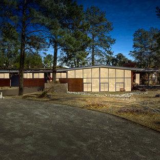 Modelo de fachada de casa gris, vintage, extra grande, de una planta, con revestimientos combinados, tejado plano y tejado de varios materiales