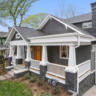 Mid-sized craftsman gray two-story vinyl exterior home idea in Atlanta