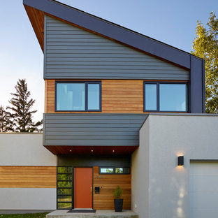 Large Modern White Two Story Mixed Siding Exterior Home Idea In Edmonton  With A Shed