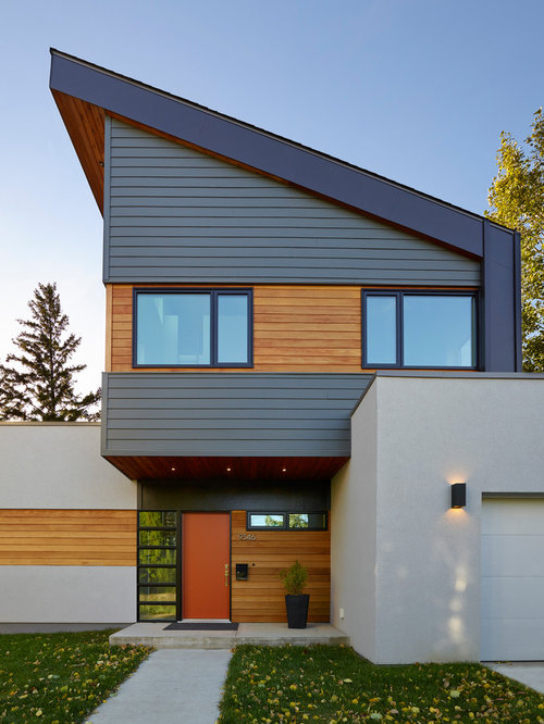 Modern Exterior Home modern exterior natural balance homes Large Modern White Two Story Mixed Siding Exterior Home Idea In Edmonton With A Shed