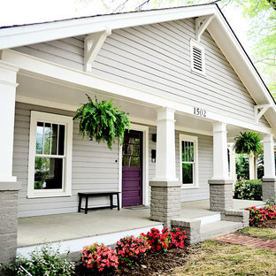 Arts and crafts gray exterior home photo in Charlotte