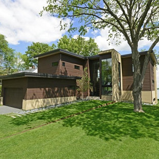Inspiration for a contemporary brown two-story exterior home remodel in Minneapolis