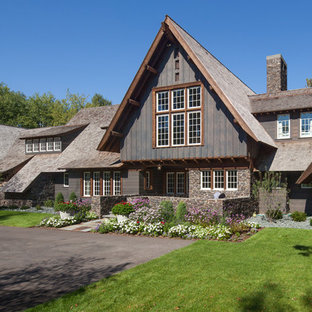 Inspiration for a rustic gable roof remodel in Minneapolis