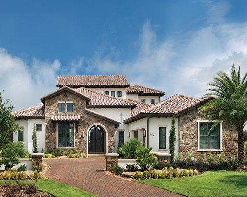 Example Of A Huge Tuscan Two Story Mixed Siding Exterior Home Design In  Tampa Part 97
