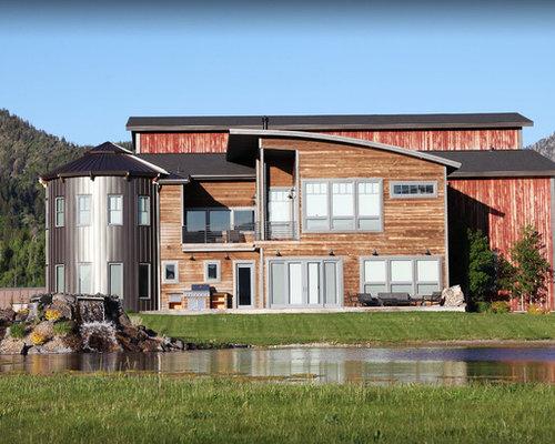Ideas para fachadas dise os de fachadas industriales con for Tejados de madera a cuatro aguas