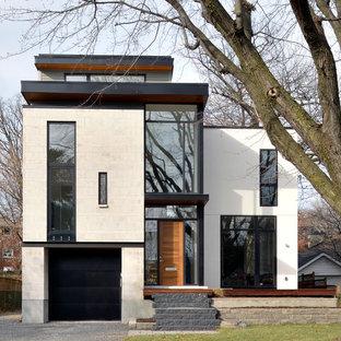 Weißes Modernes Haus mit Flachdach in Ottawa