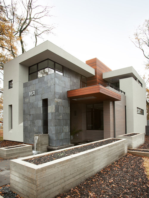 Raised ranch modern exterior remodel home design ideas for Modern home exterior makeovers