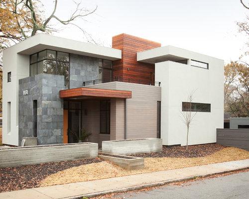 Gray stone exterior houzz for Modern gray house exterior