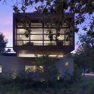Ejemplo de fachada minimalista con revestimiento de madera