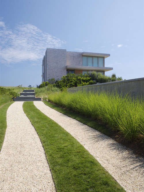 Grass driveway houzz for Long ornamental grass