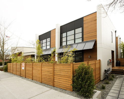 Inspiration for a contemporary wood exterior home remodel in Seattle - Exterior Faux Wood Paneling Houzz