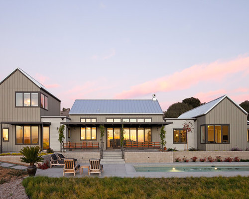 Inspiration For A Farmhouse Gray Two Story Exterior Home Remodel In San Luis Obispo