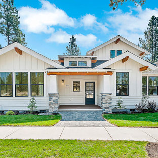 Mid-sized craftsman white two-story wood house exterior idea in Portland