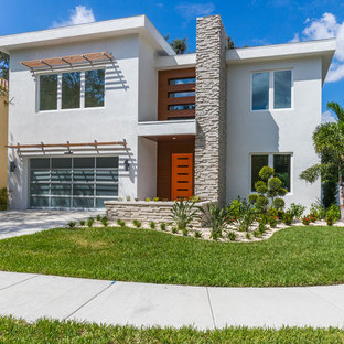 Modern white two-story wood exterior home idea in Tampa