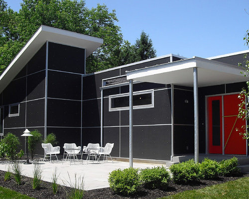 Example Of A Midcentury Modern Black One Story Exterior Home Design In  Grand Rapids