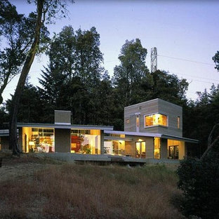 Inspiration for a large modern gray two-story mixed siding exterior home remodel in San Francisco
