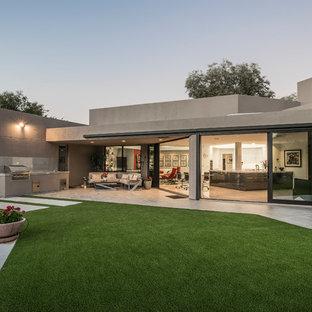 Idéer för stora funkis grå hus, med allt i ett plan och platt tak