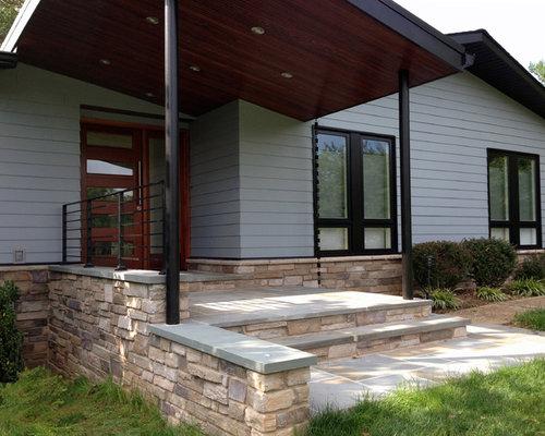 Midcentury Exterior Design Ideas Renovations Photos With Concrete Fibreboard Cladding